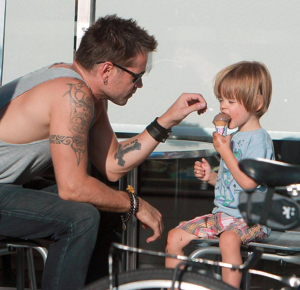 Exclusive... Colin Farrell Takes Son Henry Out For Ice Cream